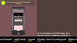 uk tax calculator for paye salary estimation iphone ipad uk tax calculator 2015 16 for paye salary estimation iphone ipad review