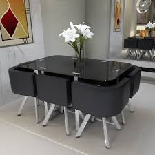 glass dining table. Panana Black Tempered Glass Dining Table And 6 Chairs Set Round Space Saver UK G
