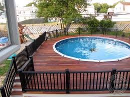 Above Ground Pool with Deck and Railings Traditional Pool