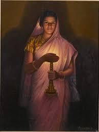 raja ravi varma lady with lamp painting