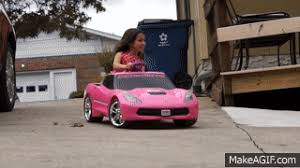 DRIFTING in a pink Power Wheels Corvette on Make a GIF