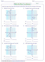Transformation Worksheets - Reflection, Translation, RotationTransformation of points