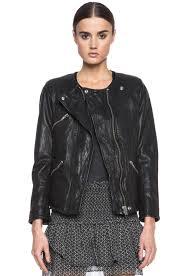 isabel marant etoile bradi washed lambskin leather jacket in black