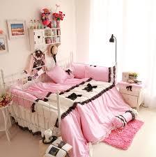 100 cotton girls pink bed set princess black lace duvet cover bedskirt queen size light