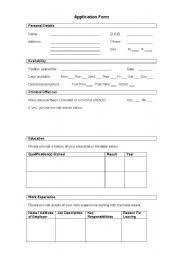 Mock Application Form English Worksheets Mock Application Form
