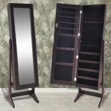 mirrored jewelry cabinet armoire organizer storage box black