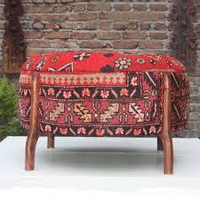 carpet ottoman. antique turkish carpet upholstered large round ottoman m