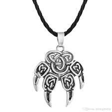 whole vintage slavic pendant veles symbol warding bear paw necklace talisman amulet viking pendant necklaces jewelry silver charms rose pendant