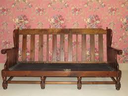 ethan allen antiqued old tavern pine wood framed sofa 12 7623 no cushions