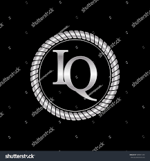 initial i and q logo silver metallic with metal circle rope frame border  decorative