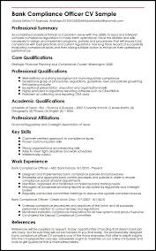 Bank Compliance Officer CV Sample