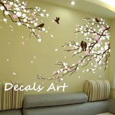 cherry blossom branches with birds vinyl wall sticker wall decal tree decals new decorating ideas