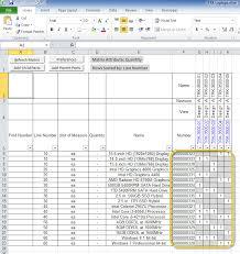 BOM Table Worksheets