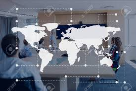 Digital Composite Of World Map Icon Against Office Meeting Background