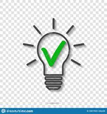 Light Bulb Symbol Meaning Light Bulb And Green Checkmark Vector Icon The Symbol Of