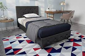 DHP Dakota Upholstered Faux Leather Platform Bed with Wooden Slat Support and Tufted Headboard and Footboard, Twin Size - Black