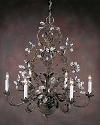 burnished iron six light hand crafted chandelier with crystal drops on a burnished hand wrought iron