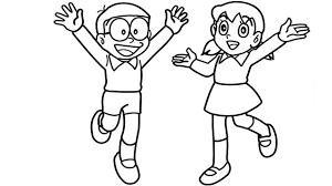 Tranh tô màu Xuka vui vẻ bên Nobita « in hình này