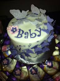 Purple Butterfly Themed Baby Shower Cake With Cupcakes Cakecentralcom
