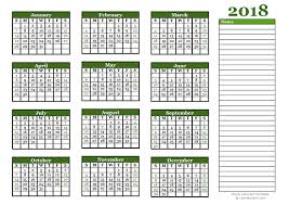 calendars with notes 2018 yearly calendar with blank notes free printable templates