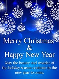merry christmas and happy new year cards. Simple Christmas Shining Blue Merry Christmas Card Inside And Happy New Year Cards A