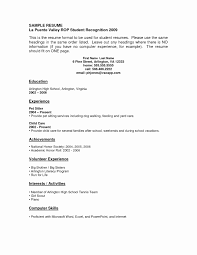 Resume Template For High School Students With No Experience Acting Resume Format No Experience Elegant High School Student 12