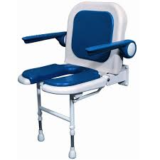 akw wall mounted fold up shower chair padded u shaped seat back w arms color choice