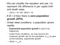 if b d then there is zero population growth zpg