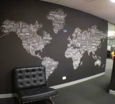office wall decor. World Map Wall Decor For Modern Office Design With Black And White Color Schemes E