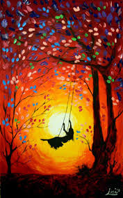 original abstract painting the swing acrylic contemporary impasto art palette knife swing painting sunset painting acrylic painting