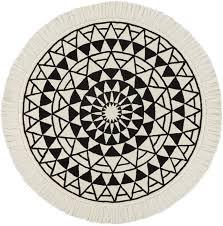 eclipse round black and white round rug 6