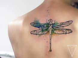Dragonfly In Geometric Watercolor From Miss Pank тату тату и