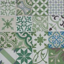 green cement tile patchwork green