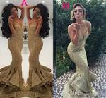 Gold sequin prom gown 2017