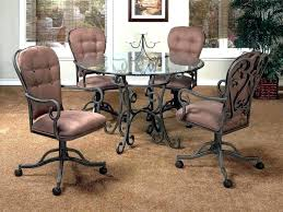 L Dining Room Sets With Chairs On Casters Interior Caster  Com Wheels