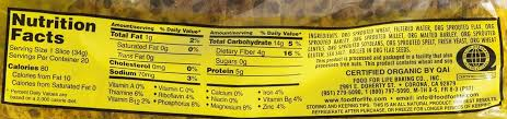 food for life ezekiel 4 9 sprouted grain flax bread nutrition facts
