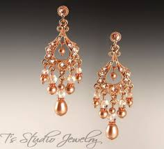 chandelier earrings wedding rose gold pearl bridal chandelier earrings