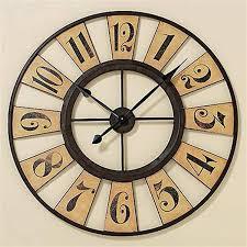 ... Clocks, Astonishing Huge Metal Wall Clock 36 Inch Wall Clock Wooden  Clock Cream Wall: ...
