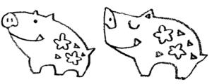 かわいいイノシシの手書きイラスト2019年干支年賀状 えんぴつと