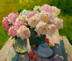 peonies and white cup gregory packard your brain says it s a white cup but it s really painted a dark cool grey
