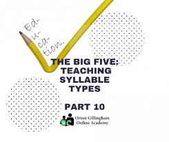 6 Syllable Types Chart The Big Five Teaching Syllable Types Orton Gillingham