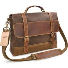 newhey mens messenger bag waterproof canvas leather computer laptop 15 inch case for