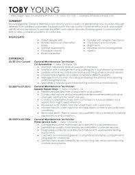 Maintenance Tech Resume Maintenance Tech Resume For Technician Large By Glen Perfect General