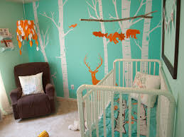soft teal bedroom paint. Kids Room. Soft Blue Wall With White Tree Paint Combined By Wooden Cradle And Teal Bedroom I
