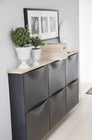 Dress up the TRONES wall mounted shoe cabinets with a simple wood top like  this one