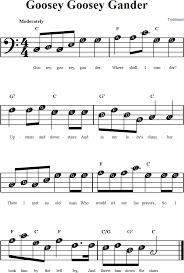 Goosey Goosey Gander Beginner Bass Clef Sheet Music With