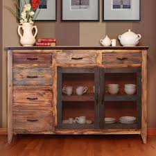 International Furniture Direct 900 Antique Multicolor Buffet with