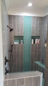 tub shower tile ideas dark wood textured teal arabesque tile accent teal shower floor grey wood grain shower ti