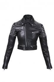 studded leather biker jacket od sel black gold
