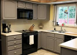 image of gray kitchen cabinet remodel